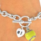 "SWW16186B - POLISHED SILVER TONE ""#1"" HEART & SOFTBALL CHARM TOGGLE BRACELET"