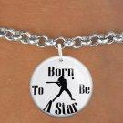 """SWW1150SB - """"BORN TO BE A STAR"""" SOFTBALL CHARM & BRACELET"""