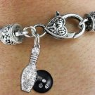 SWW1272SB2 - BOWLING BALL AND PIN  CHARM & HEART CLASP BRACELET