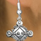 """SWW293SE - SOFTBALL CHARM EARRINGS  """" A DIAMOND IS A GIRLS BEST FRIEND"""""""