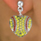 SWW1519SE2 - SILVER TONE AND YELLOW  CRYSTAL SOFTBALL HEART SHAPED CHARM  EARRINGS