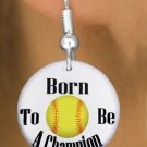"SWW1206SE - ""BORN TO BE A CHAMPION"" SOFTBALL  CHARM EARRINGS"