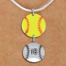 SWW21283N - NECKLACE AND YELLOW SOFTBALL PENDANT WITH CUSTOM POSITION BALL CHARM