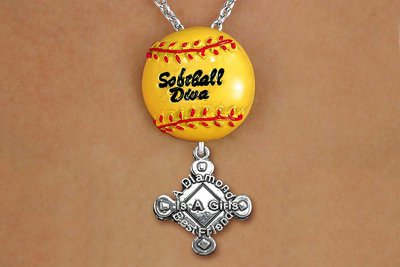 """SWW19923N - """"SOFTBALL DIVA""""  NECKLACE WITH SILVER TONE  """"A DIAMOND IS A GIRLS BEST FRIEND""""  CHARM"""