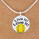 """SWW1244SN4 - """"LIVE IT! LOVE IT! - SOFTBALL""""  DISK CHARM & NECKLACE"""