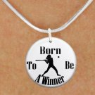 "SWW1147SN5 - ""BORN TO BE A WINNER"" SOFTBALL CHARM & NECKLACE"