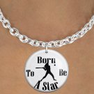 """SWW1150SN6 - """"BORN TO BE A STAR"""" SOFTBALL CHARM & NECKLACE"""
