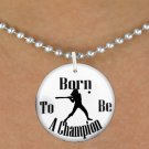 "SWW1143SN - ""BORN TO BE A CHAMPION"" SOFTBALL CHARM & NECKLACE"