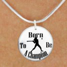 """SWW1143SN5 - """"BORN TO BE A CHAMPION"""" SOFTBALL CHARM & NECKLACE"""