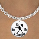 "SWW1143SN6 - ""BORN TO BE A CHAMPION"" SOFTBALL CHARM & NECKLACE"