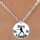 "SWW1143SN7 - ""BORN TO BE A CHAMPION"" SOFTBALL CHARM & NECKLACE"