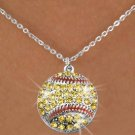 SWW973SN3 - YELLOW AUSTRIAN CRYSTAL SOFTBALL CHARM &  NECKLACE
