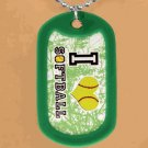 "SWW12211N - ""I LOVE SOFTBALL"" GREEN DOG TAG & BALL CHAIN NECKLACE"