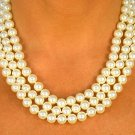 SWW8585N - CREAM COLOR TRIPLE- STRAND 8MM FAUX PEARL NECKLACE