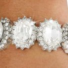 SWW18665B - CLEAR FACETED OVAL  AUSTRIAN CRYSTAL STRETCH BRACELET