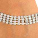 SWW8569B - POLISHED SILVER TONE MULTI ROW AUSTRIAN CRYSTAL LATCH-CLASP BRACELET