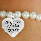 "SWW17488B - CREAM COLOR FAUX PEARL & ""MOTHER OF THE BRIDE"" CHARM BRACELET"