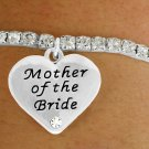 "SWW17489B - SILVER TONE STRETCH AUSTRIAN CRYSTAL & ""MOTHER OF  THE BRIDE"" CHARM BRACELET"