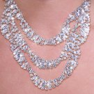 SWW20071NE - GENUINE AUSTRIAN  SPARKLING CRYSTAL AND STUD 3-TIERED  DESIGN NECKLACE & EARRING SET