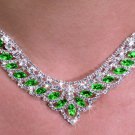 SWW19907NE - GENUINE AUSTRIAN  SPARKLING GREEN CRYSTAL LOVELY  DESIGN NECKLACE & EARRING SET