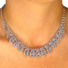 "SWW18115NE - POLISHED SILVER FINISH AUSTRIAN CRYSTAL ""CASCADING LEAF"" NECKLACE & EARRINGS"