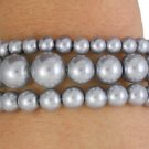 SWW18417B - GRAY THREE STRAND  FAUX PEARL BEAD STRETCH BRACELET