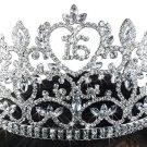 "SWW19268T - ""16"" HEART CROWN SWEET SIXTEEN / 16TH BIRTHDAY AUSTRIAN CRYSTAL SET TIARA"