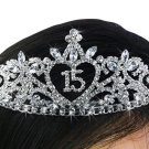"SWW19227T - ""15"" HEART PRINCESS QUINCEAÑERA / 15TH BIRTHDAY AUSTRIAN CRYSTAL SET TIARA"