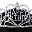 "SWW15927T - GENUINE AUSTRIAN CRYSTAL TRIPLE-HEART ""HAPPY BIRTHDAY"" TIARA"