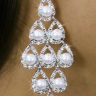SWW18329E - VINTAGE STYLE GENUINE AUSTRIAN CRYSTAL AND SYNTHETIC PEARL CHANDELIER EARRINGS