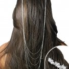 SWW19014HJ - CLEAR GENUINE AUSTRIAN  CRYSTAL FLOWER COMBS AND  HAIR CHAIN