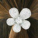 SWW18709HJ - GENUINE AUSTRIAN  CRYSTAL AND FAUX PEARL BEAD FLOWER  PONYTAIL HOLDER