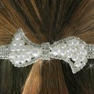 "SWW18681HJ - GENUINE AUSTRIAN  CRYSTAL AND FAUX PEARL BEAD ""BOW""  BARRETTE"
