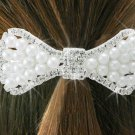 "SWW18493HJ - GENUINE AUSTRIAN CRYSTAL AND FAUX PEARL BEAD ""BOW""  BARRETTE"