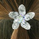 SWW18486HJ - CLEAR AND AURORA  BOREALIS GENUINE AUSTRIAN CRYSTAL  FLOWER PONYTAIL HOLDER