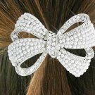 "SWW18263HJ - GENUINE AUSTRIAN  CRYSTAL AND FAUX PEARL BEAD ""BOW""  PONYTAIL HOLDER"