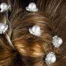 SWW12763HJ - FAUX PEARL & GENUINE AUSTRIAN CRYSTAL 6-PIECE HAIR PICK SET
