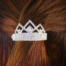 SWW4631HJ - BRILLIANT SWAROVSKI CRYSTAL & AURORA BOREALIS TRIANGLE CROWN CLIP PONYTAIL HOLDER