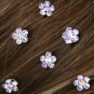 SWW12658HJ - SIX-GENUINE AUSTRIAN CRYSTAL FLOWER HAIR ACCENTS