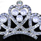 SWW16219T - SMALL GENUINE AUSTRIAN CRYSTAL & FAUX PEARL HEART CROWN TIARA COMB