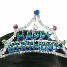 "SWW18729T - MINI BRIGHTLY COLORED GENUINE AUSTRIAN CRYSTAL ""HAPPY BIRTHDAY"" TIARA HAIR COMB"
