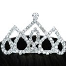 SWW14242T - TRIPLE UPSIDE-DOWN AUSTRIAN CRYSTAL HEART TIARA COMB