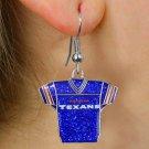 SWW21048E - HOUSTON TEXANS NFL TEAM  BLUE SPARKLE JERSEY EARRINGS