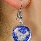 "SWW21046E - HOUSTON TEXANS NFL TEAM  SILVER TONE ""TORO"" BLUE SPARKLE EARRINGS"