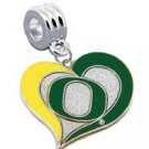 Oregon Ducks Swirl Heart Charm with Connector - SWAZC