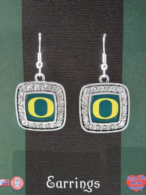 Officially Licensed University of Oregon Ducks Silvertone Square Crystal Studded Earrings - SWAZC