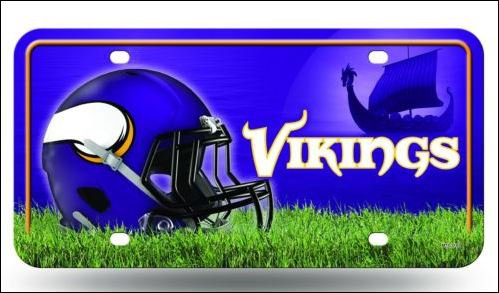 Minnesota Vikings Logo and Helmet Aluminum License Plate - SWEBMVLP2