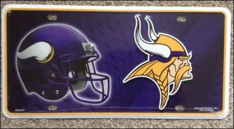 Minnesota Vikings Logo and Helmet Aluminum License Plate - SWEBMVLP3