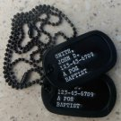 Real Black Debossed Military Dog Tags  Made Just For U