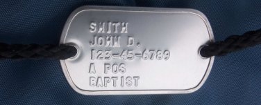 Real Embossed 2 Hole Military Dog Tag Made Just 4 Your Drawstring Bag